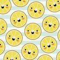 Orange slices kawaii fruits pattern set on decorative lines color background Royalty Free Stock Photo