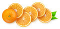 Orange slices over white background Royalty Free Stock Image