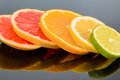 Orange slices of an symbolic photo for healthy vitamins with fresh fruit Royalty Free Stock Images