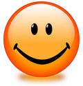 Orange smiley face button Royalty Free Stock Photo