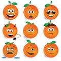 Orange smileys vector icon set Stock Image