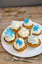 Orange Snowflakes Muffins With Two Silver Dessert Forks On The Vintage Wooden Table Royalty Free Stock Photo