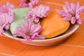 Orange soap with blooms Stock Image