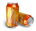 Orange soda drinks in metal cans Stock Photo