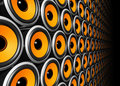 Orange speakers wall Royalty Free Stock Image