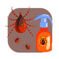 Orange sprayer of mite or tick insecticide and tick parasite. Colorful cartoon illustration