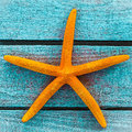 Orange starfish on turquoise wooden boards colourful dried rustic painted a memento of a summer vacation at the seaside close up Royalty Free Stock Photo