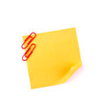 Orange sticky paper note with red clips Royalty Free Stock Photo