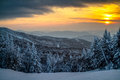 Orange sunset over the moutains in vermont Stock Photo