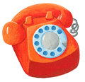 Orange telephone from 70s Royalty Free Stock Photo