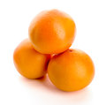 Orange three round oranges isolated over white fresh fruit Royalty Free Stock Image