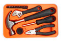 Orange tools box against Royalty Free Stock Photo