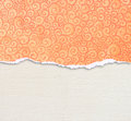 Orange torn paper edge with pattern over canvas background Royalty Free Stock Photo