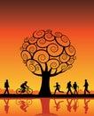 Orange tree and people Stock Photo