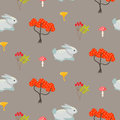 Orange trees and blue bunny earth color seamless pattern.