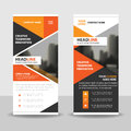 Orange triangle roll up business brochure flyer banner design , cover presentation abstract geometric background Royalty Free Stock Photo