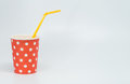Orange tube in White dot pattern on red paper cup with white background and selective focus Royalty Free Stock Photo