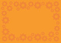 Orange Vector Background with Floral Pattern Border Royalty Free Stock Photo