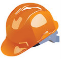 Orange vector hardhat construction work Stock Photography