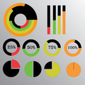 Orange vector infographics with color charts circle charts with percent Stock Photos