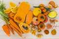 Orange vegetables and fruit Royalty Free Stock Photo