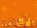 Orange vintage background with fruit Stock Images
