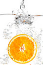 The orange in water Royalty Free Stock Photo