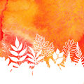 Orange watercolor painted autumn foliage background
