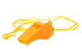 Orange whistle isolated on white background Royalty Free Stock Photo