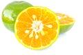 Orange on white background stock photo half Royalty Free Stock Images