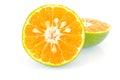 Orange on white background stock photo half Royalty Free Stock Image