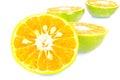 Orange on white background stock photo half Royalty Free Stock Photo