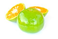 Orange on white background stock photo half Stock Image