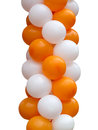 Orange and white balloons isolated on white background Stock Photography