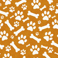 Orange and White Dog Paw Prints and Bones Tile Pattern Repeat Ba