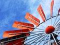 Orange wind turbine Stock Image
