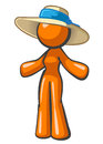 Orange Woman Large Hat Royalty Free Stock Photography