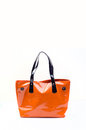Orange women bag isolated on white background Stock Images