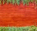 Orange woodden wall with foliage background Royalty Free Stock Image