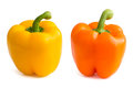 Orange and yellow bell peppers on white Stock Photo