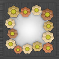 Orange yellow blossom square frame on metal illustration Stock Photography