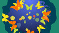 Orange and yellow butterflies flying