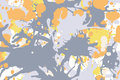 Orange yellow grey ink splashes background