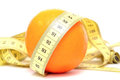 Orange with yellow measuring tape Stock Photos