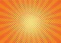 Orange, yelow rays and dots pop art background. retro vector illustration drawing for design.