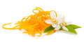 Orange zest and blossom fresh twig af tree with flowers on white background Royalty Free Stock Images