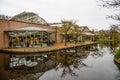 Orangery near water in Keukenhof park, Lisse, Holland, Netherlands. Royalty Free Stock Photo