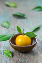 Oranges citrus japonica thunb in a ceramic dish Stock Photos