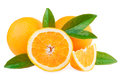 Oranges fruits over white ripe with leaves isolated on background Royalty Free Stock Images