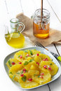 Oranges with honey and olive oil Stock Photography